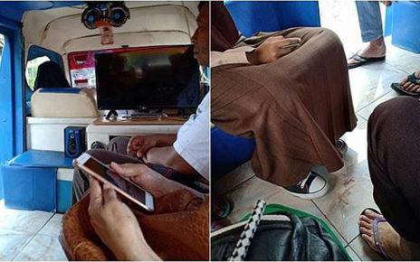 Viral Angkot Lantai Keramik TV LED + Speaker, Berasa di Rumah Sendiri!